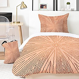Deny Designs Copper Leaf 4-Piece Twin/Twin XL Duvet Cover Set in Gold