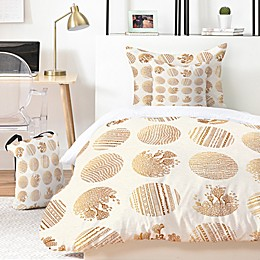 Deny Designs Vanilla Dot 4-Piece Twin/Twin XL Duvet Cover Set in Gold