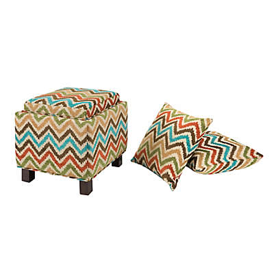 Madison Park Square Storage Ottoman with Two Accent Pillows