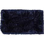 Home Dynamix Aspen Faux Fur 30-Inches x 47-Inches Square Accent Rug in Navy