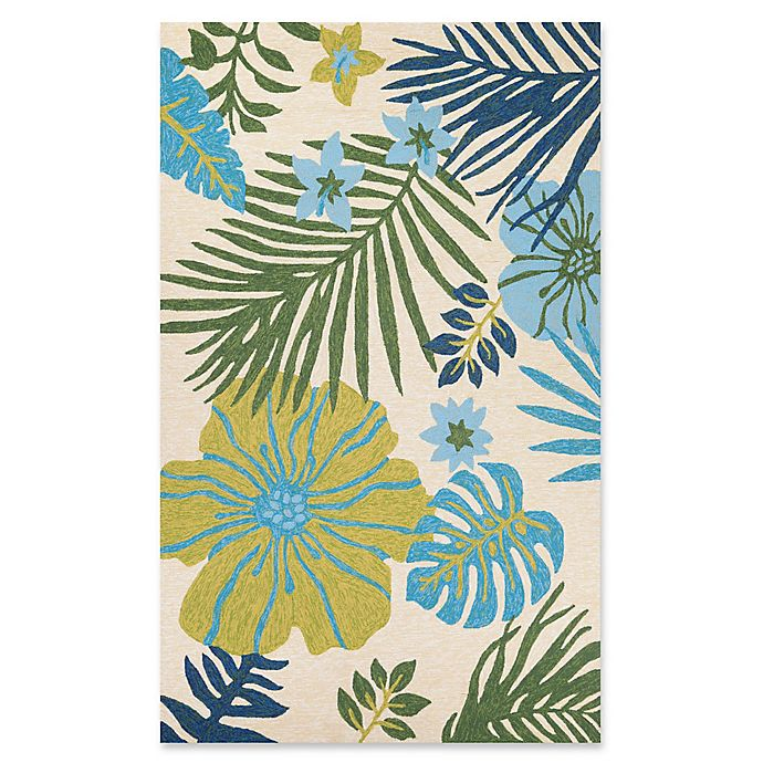 Alternate image 1 for Couristan® Covington Summer Laelia Indoor/Outdoor 5-Foot 6-Inch x 8-Foot Area Rug in Ivory/Green