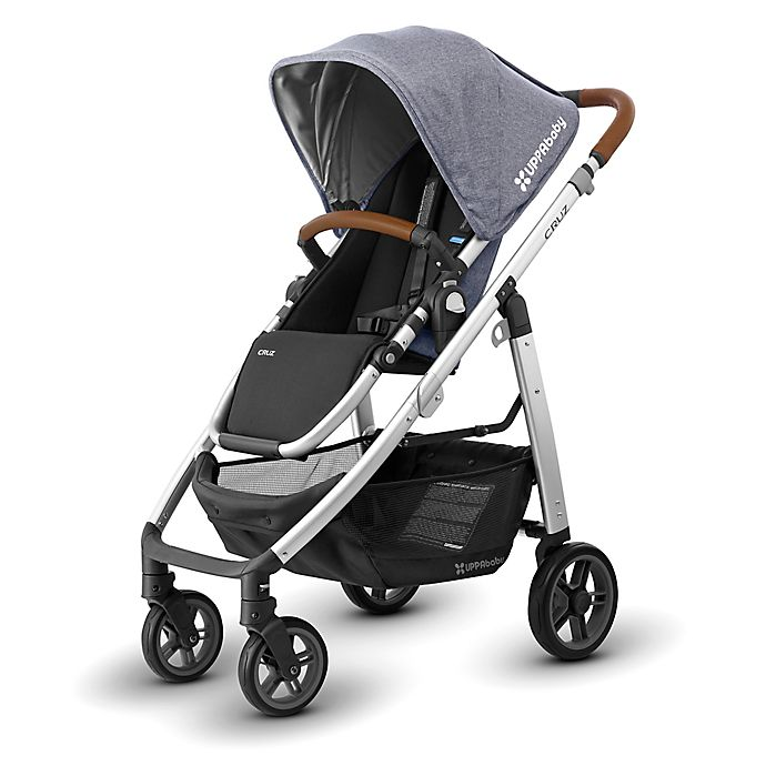 Alternate image 1 for UPPAbaby® CRUZ 2017 Stroller with Leather Handles in Gregory (Chambray Blue Fabric/Silver Frame)