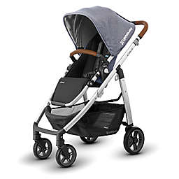 UPPAbabyR CRUZ 2017 Stroller With Leather Handles In Gregory Chambray Blue Fabric Silver