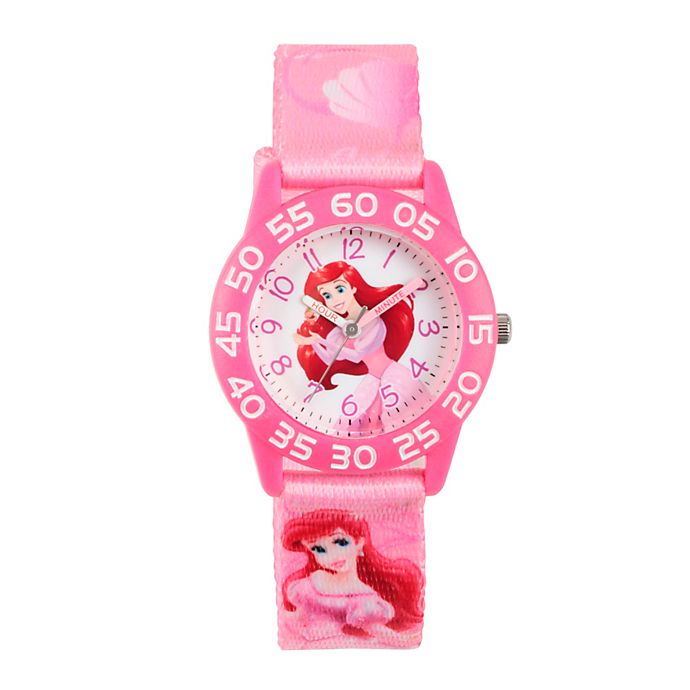 Alternate image 1 for Disney® Princess Ariel Children's 32mm Time Teacher Watch with Pink Fabric Strap