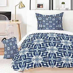 Deny Designs Watercolor Shibori 4-Piece Twin/Twin XL Duvet Cover Set in Blue