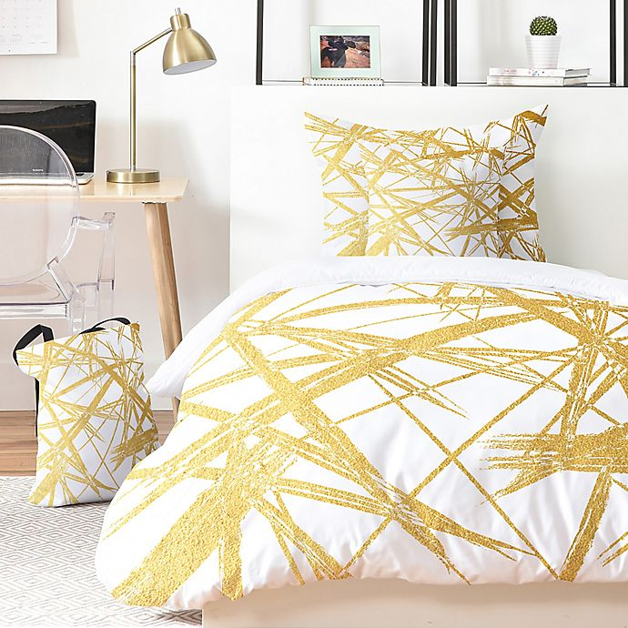 Alternate image 1 for Deny Designs Khristian A. Howell Strokes 5-Piece King Duvet Cover Set in Gold