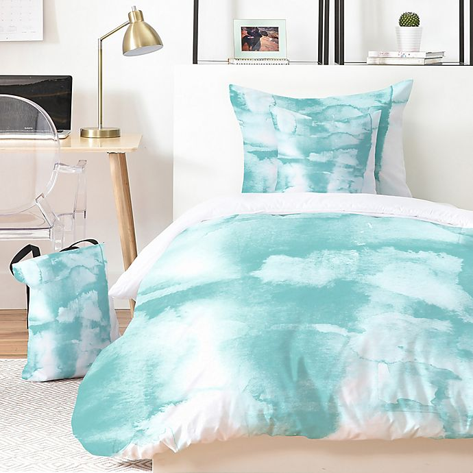 Alternate image 1 for Deny Designs Mareike Boehmer Watercolors 5-Piece King Duvet Cover Set in Teal/White