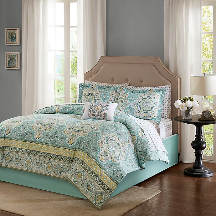 Alternate image 1 for Madison Park Essentials Cara 9-Piece Full Comforter Set in Aqua