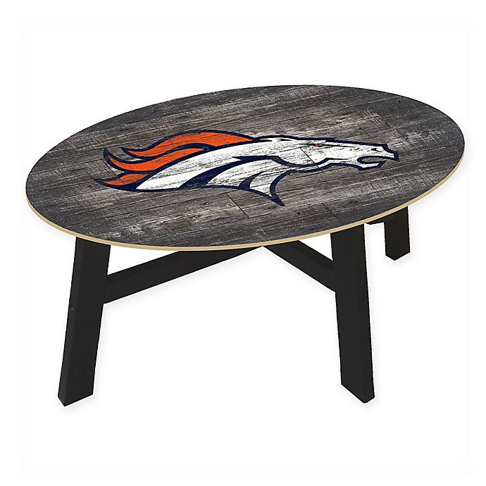 Nfl Denver Broncos Distressed Wood Coffee Table