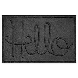 "Weather Guard™ ""Hello"" 24-Inch x 36-Inch Door Mat in Charcoal"