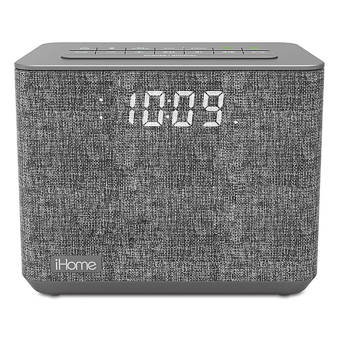 Alternate image 1 for iHome™ FM Bluetooth Alarm Clock in Grey with USB Port