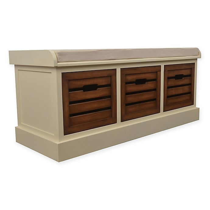 Alternate image 1 for Decor Therapy Melody Storage Bench in White/Honeynut