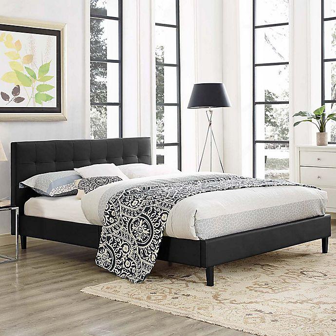 Alternate image 1 for Modway Linnea Full Upholstered Platform Bed in Black Vinyl
