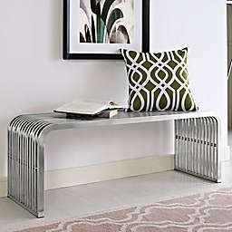 Modway Pipe Stainless Steel Bench in Silver