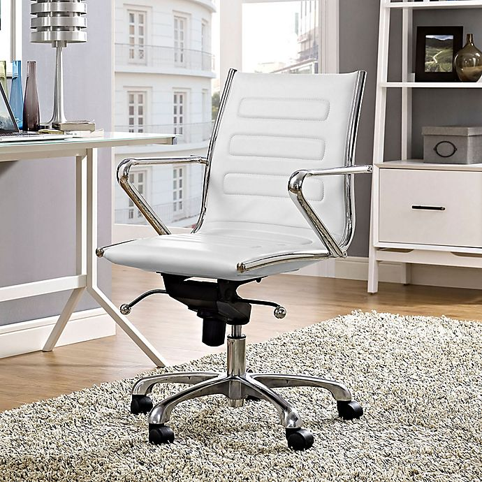 Alternate image 1 for Modway Ascend Vinyl Mid-Back Rolling Office Chair in White