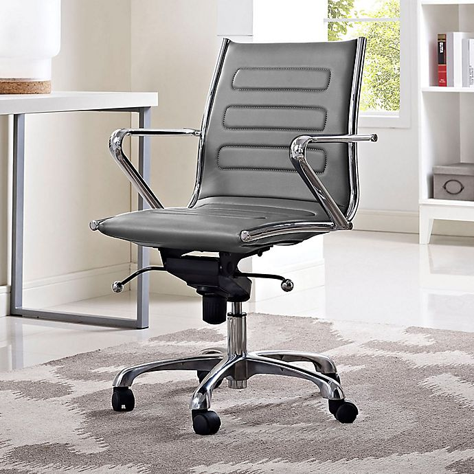 Alternate image 1 for Modway Ascend Vinyl Mid-Back Rolling Office Chair in Grey