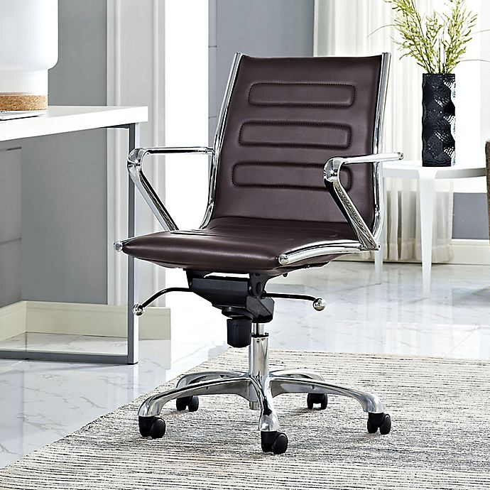 Alternate image 1 for Modway Ascend Vinyl Mid-Back Rolling Office Chair in Brown