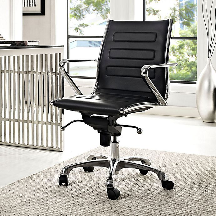 Alternate image 1 for Modway Ascend Vinyl Mid-Back Rolling Office Chair in Black