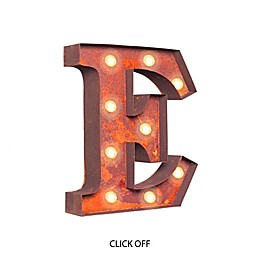 "Vintage Retro Lights & Signs Metal Letter ""E"" Light-Up Wall Art"