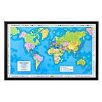 Map Marketing World Traveler Map 41-Inch x 25-Inch Wood Wall Art in Black