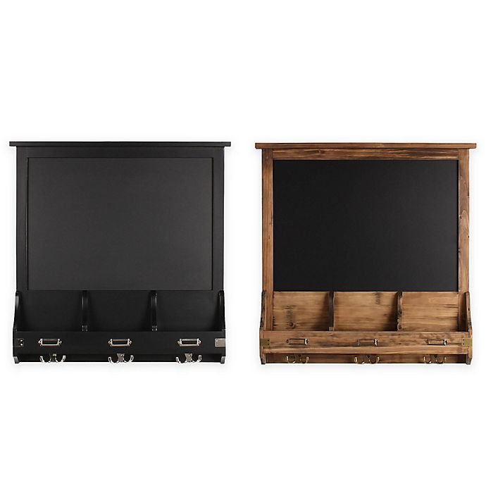 Alternate image 1 for Kate and Laurel Stallard Chalkboard Wall Organizer with Hooks