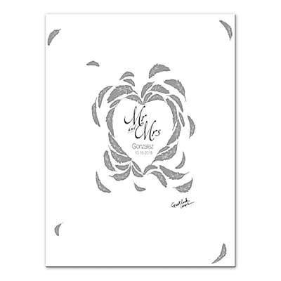 Feathered Love Guest Book 30-Inch x 40-Inch Canvas Wall Art
