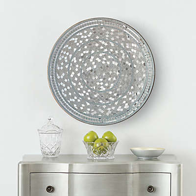 Mosaic 24-Inch Disc Wall Art in Silver
