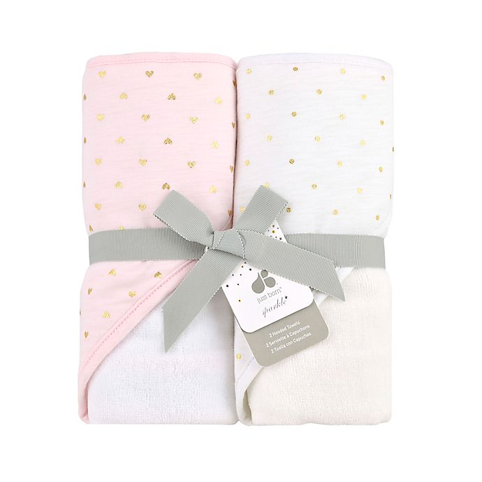 Alternate image 1 for Just Born® Sparkle 2-Pack Hooded Towel in Pink