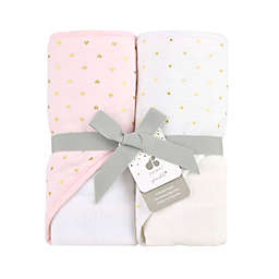 Just Born® Sparkle 2-Pack Hooded Towel in Pink
