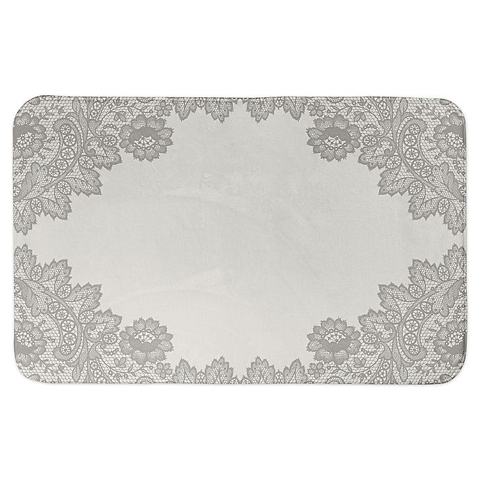Alternate image 1 for Designs Direct 34-Inch x 21-Inch Brown Lace Bath Mat