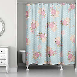 Designs Direct Floral Dot Shower Curtain In Blue Pink