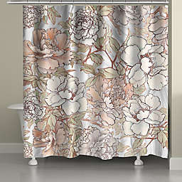 Laural Home Blushing Pale Pink Peonies Shower Curtain
