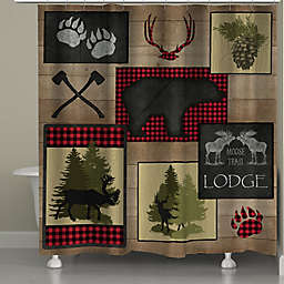 Laural Home Lumberjack Plaid Lodge Patch Shower Curtain