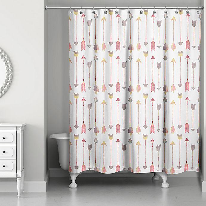 Alternate image 1 for Designs Direct Wild Arrow 71-Inch x 74-Inch Shower Curtain in Pink/Orange