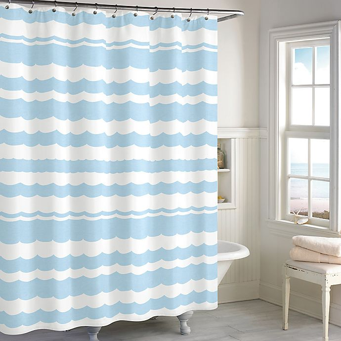 Destinations Wave Scallop Shower Curtain In Blue