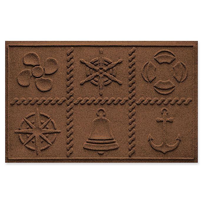 Alternate image 1 for Weather Guard™ Nautical Grid 24-Inch x 36-Inch Door Mat in Dark Brown