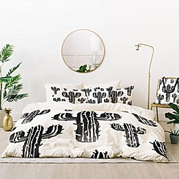 Deny Designs Cactus Party Desert Matcha 4-Piece Twin/Twin XL Duvet Cover Set in Black