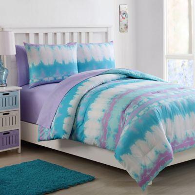 Vcny Home Pink Lemonade Tie Dye Comforter Set Bed Bath