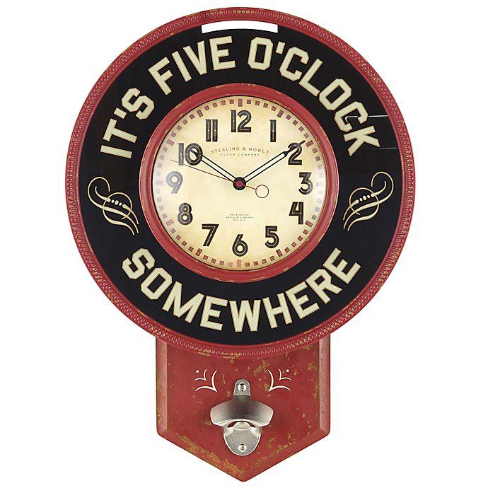 Design Imports Its Beer Oclock Bottle Cap Vintage Red 10 x 10 inch Metal Clock