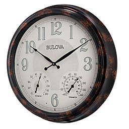 Bulova Weather Mate Indoor/Outdoor Wall Clock in Brown