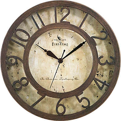 FirsTime® Brown Crackle Wall Clock in Oil Rubbed Bronze