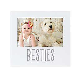 "Pearhead® ""Besties"" Sentiment Keepsake 4-Inch x 6-Inch Photo Frame Photo Frame in White"