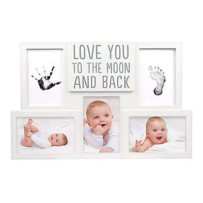 "Pearhead® ""Love You to the Moon and Back"" Handprint and Footprint 3-Photo Photo Frame in White"