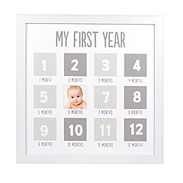 Pearhead® 12-Photo First Year Wood Frame in White