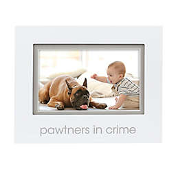 "Pearhead® ""Pawtners in Crime"" Sentiment Keepsake 4-Inch x 6-Inch Photo Frame in White"