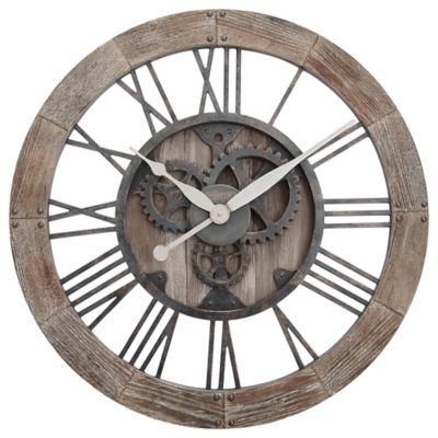 Firstime 174 Rustic Gears Wall Clock In Natural Wood Bed