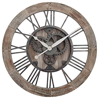 FirsTime® Rustic Gears Wall Clock in Natural Wood