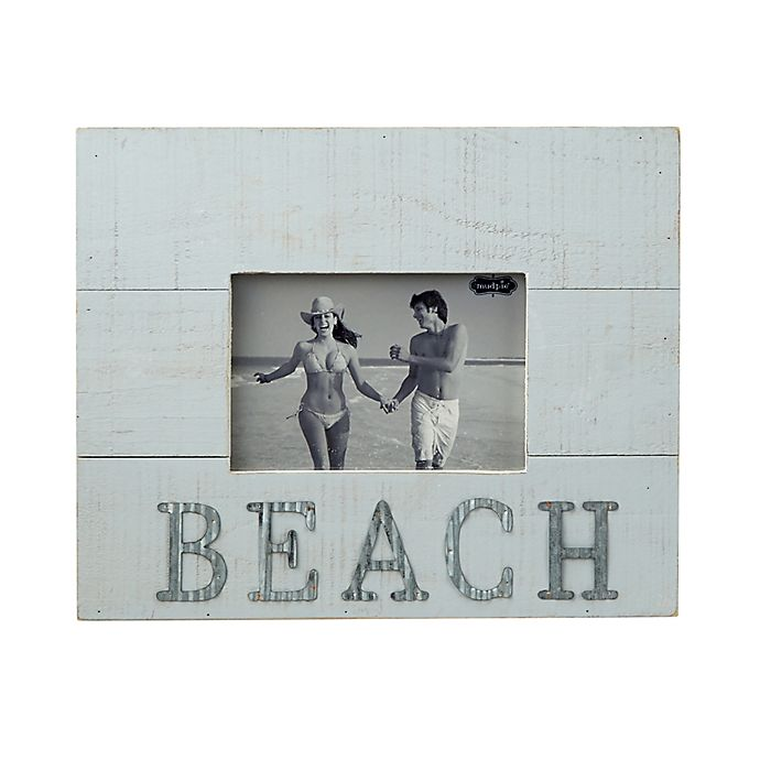 Alternate image 1 for Mud Pie Beach 4-Inch x 6-Inch Picture Frame in White