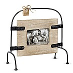 Mud Pie 4-Inch x 6-Inch Mango Wood Picture Frame with Metal Stand