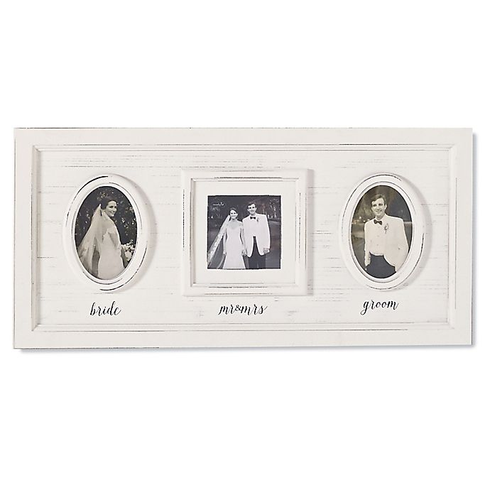 Alternate image 1 for Mud Pie Wedding 3-Photo Collage Picture Frame in White